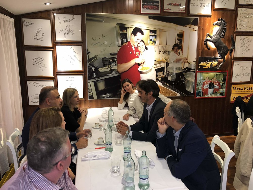 Dinner at Ristorante Montana, a famous place where every Ferrari F1 driver comes to cook with the chef when they join the team.