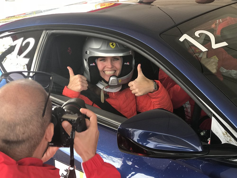 What it feels like to go 240 km/h in a Ferrari driven by a professional race car driver.