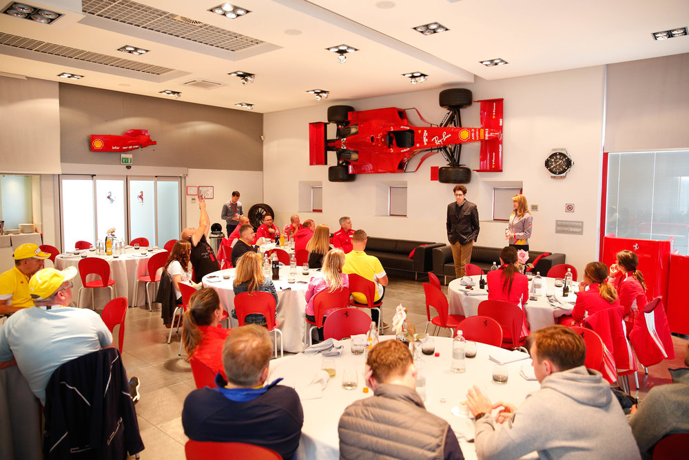 Lunch break for the day where the technical director of Scuderia Ferrari visited the group.