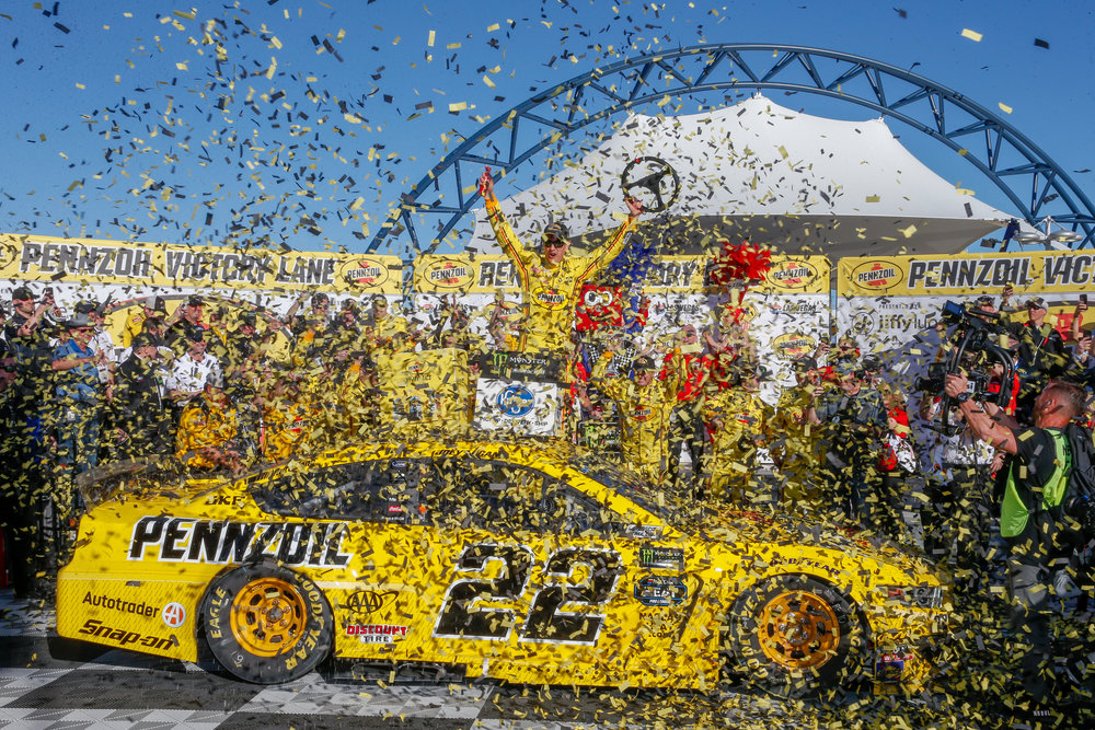 Joey Logano drove the #22 Pennzoil Ford Mustang to Victory Lane in the Pennzoil 400 for the first time on March 3, 2019 at Las Vegas Motor Speedway.