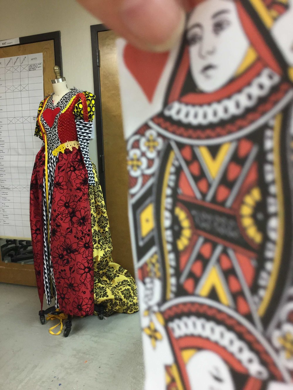 Queen of Hearts Dress, in progress