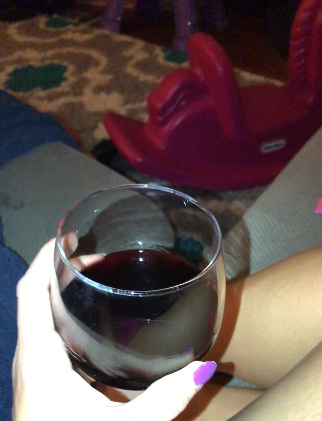 Wine time! I swear I'm wearing pants...just some short pajama shorts that are even shorter because I have them pulled over my gut to where they're most comfortable #momlife