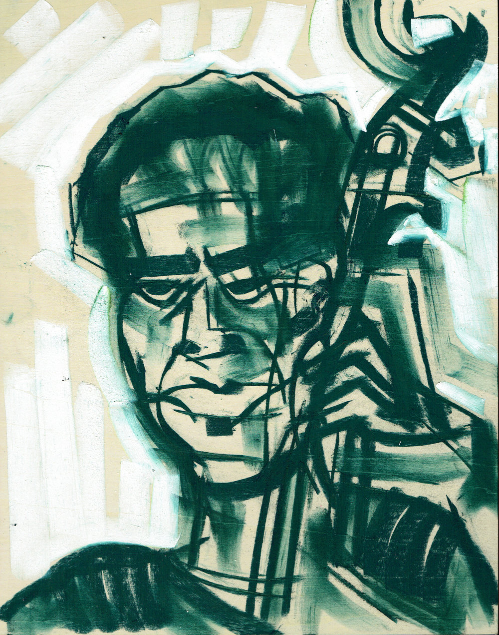 Jeremiah Hunt (depicted) plays for the Museum of Contemporary Art Chicago's Tuesdays on the Terrace series with the Xavier Breaker Coalition. - The MCA has been kind enough to publish Jazz Occurrence blogs and encourage this artists' #livepainting adventures.