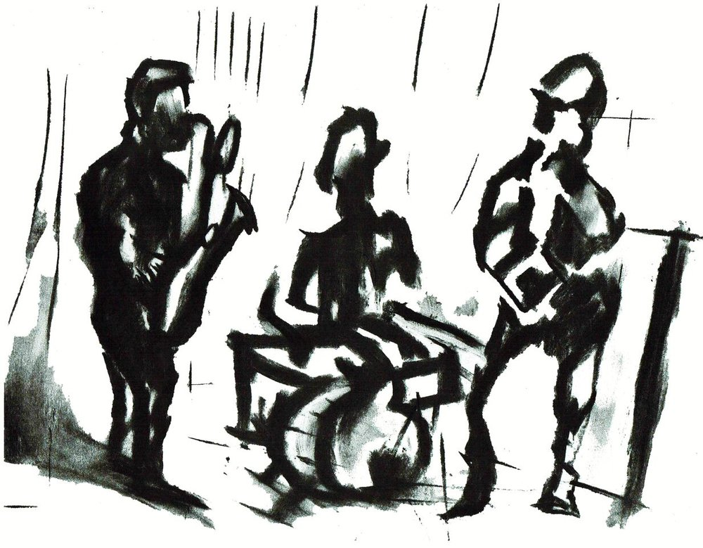 This last drawing from April 17th 2013 at the Hideout of Ken Vandermark, Chris Corsano and Mars Williams began to give me the courage to keep on creating.  11X14 inches charcoal on paper.  - 3 great musicians that don't often come together. It was a great night in Chicago. Original $300 and reproductions available.
