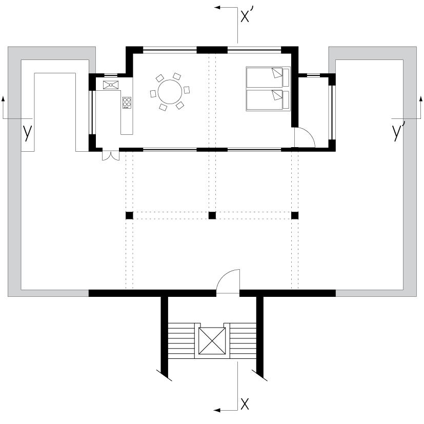 Plan after renovation. The two terraces are joined by a covered loggia.   Grundriss nach der Renovierung: Die zwei Terrassen sind durch eine überdachte Loggia verbunden.