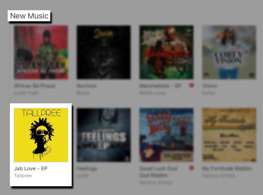 Jab Love  receives a feature on iTunes U.S. Reggae section, during week of release.