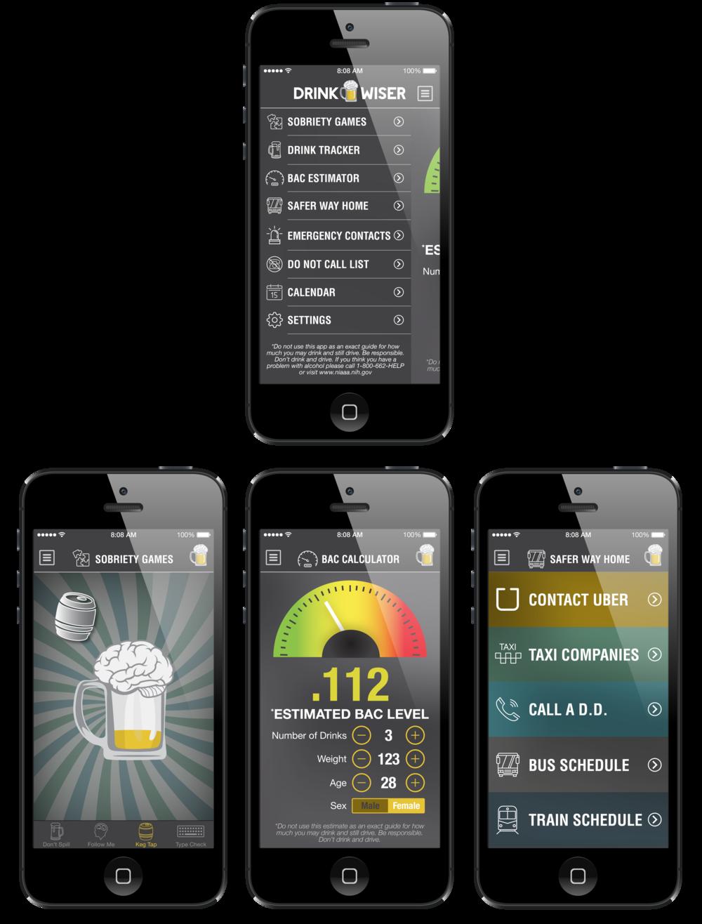 Main App Menu (top), 3 Screens Displaying Functionality