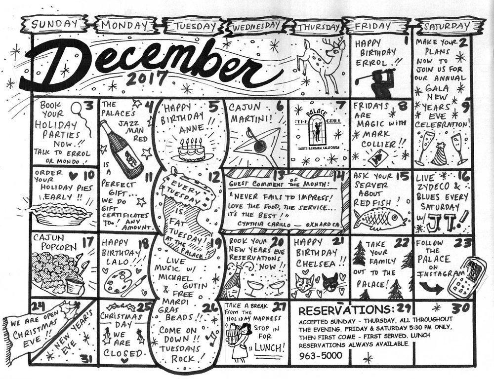 December Event Calendar
