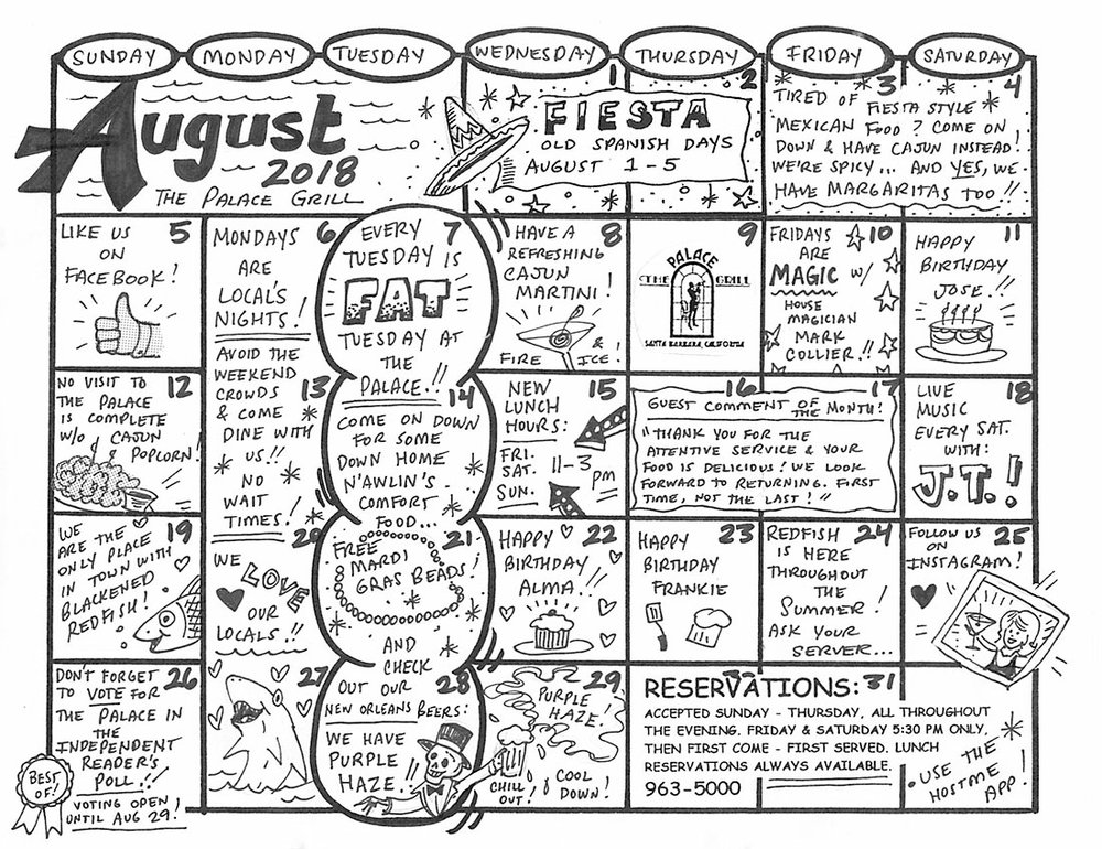 August Event Calendar for The Palace Grill