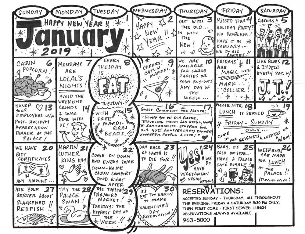 January 2019 Event Calendar for The Palace Grill