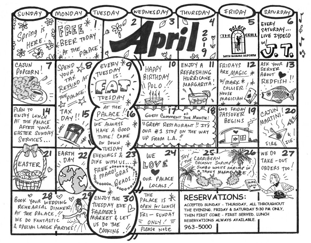 April 2019 Event Calendar for The Palace Grill