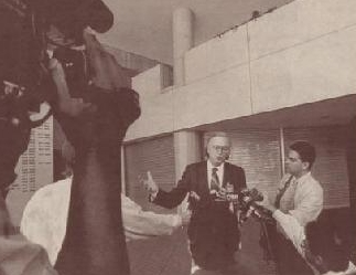 "My PR Guru Founder Elliot Cohen interviewing famed defense attorney Roy Black while covering the criminal trial of notorious ""Cocaine Cowboy"" Sal Magluta. 1995"