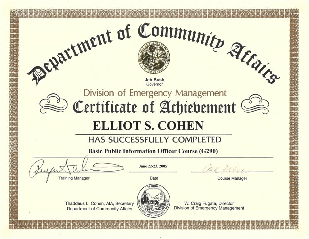 Elliot Cohen FL DEM Certificate.png