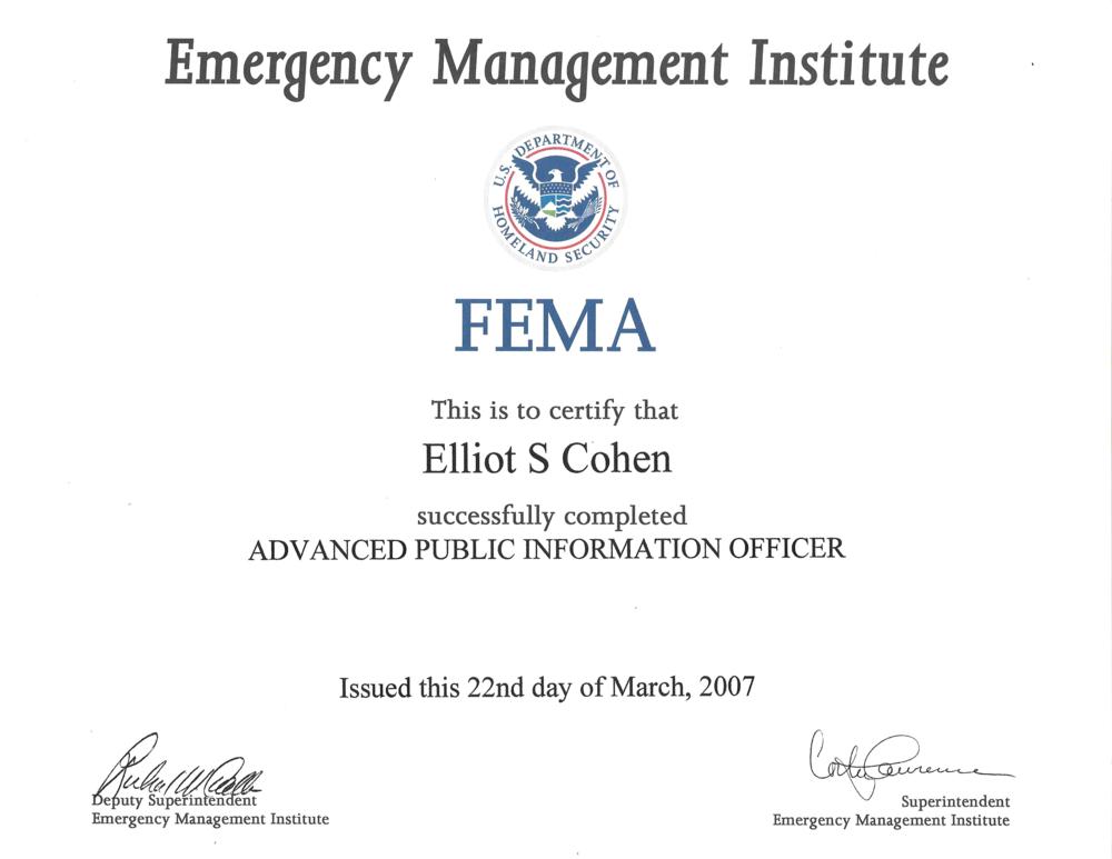 Elliot Cohen FEMA Certificate.png