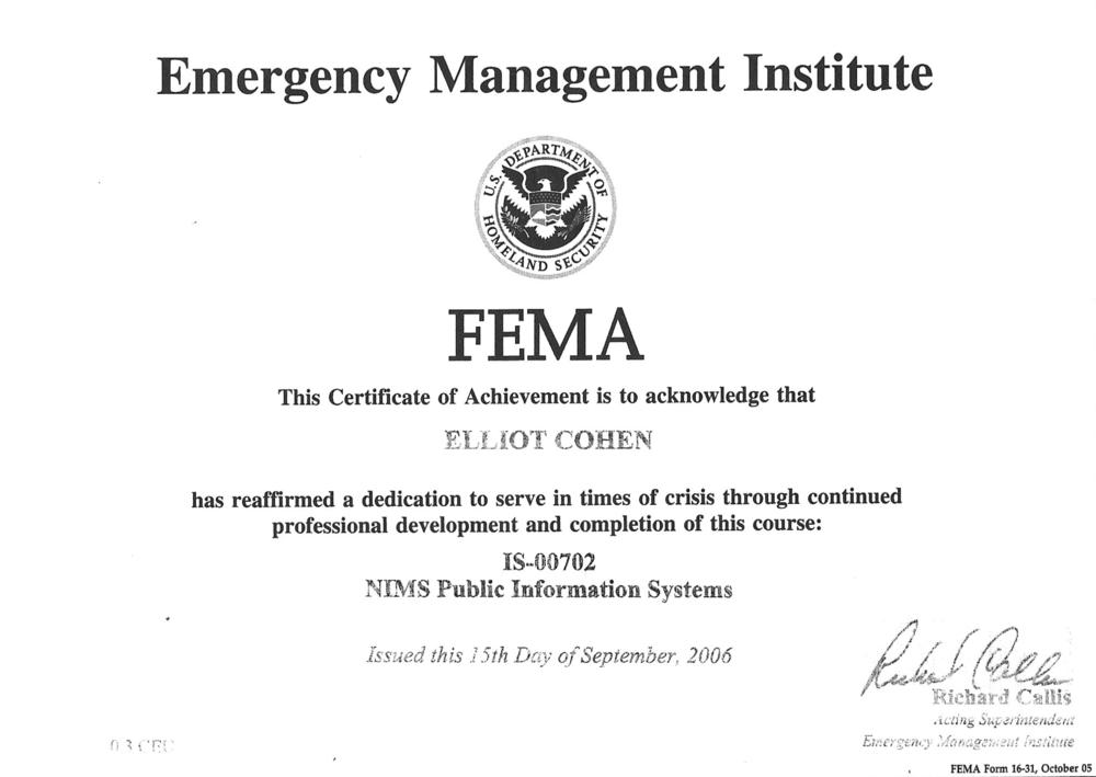 Elliot Cohen FEMA NIMS Certificate.png