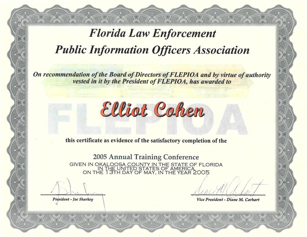 Elliot Cohen FLEPIOA Certificate.png