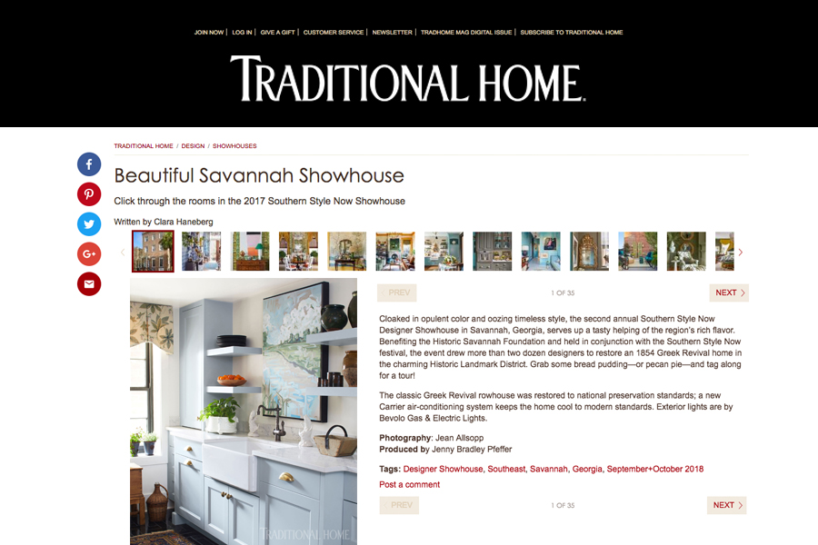 Traditional Home Sept/Oct 2018 | Southern Style Now Designer Showhouse, Savannah, Georgia