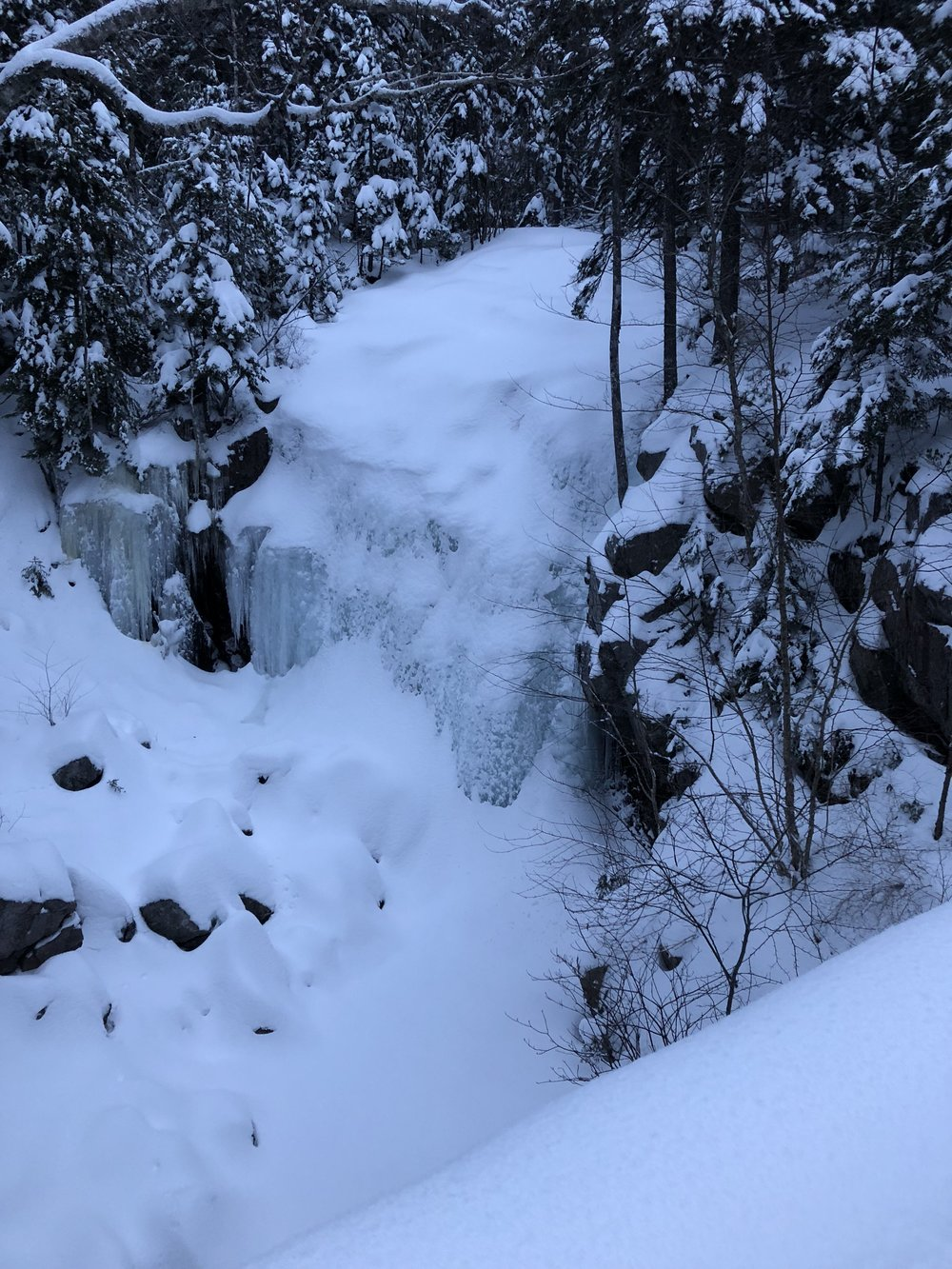 Frozen waterfall on Parkman Mountain