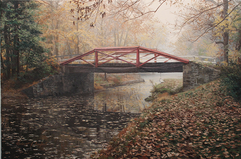 Crossing in the Mist  Oil on linen canvas by Robert J. Seufert