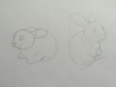 pencil drawing of bunnies