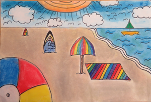 Beach scene by Samarth, age 10