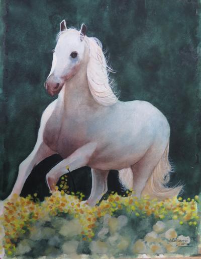 White horse, W/C, by Ishani, age 15