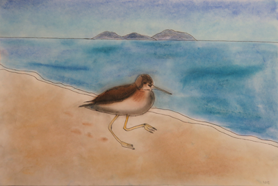 Beach scene with bird by Rahi, age 11