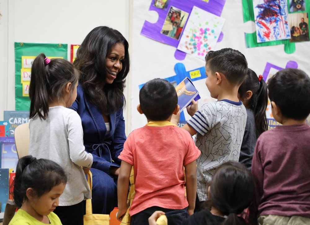 Former First Lady Michelle Obama visited a Head Start program at Para Los Niños on November 15, 2018. She led story-time and shared her love of reading with young Head Start students.