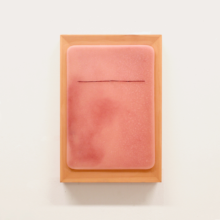 Wax and silk on mesh, 25 x 36cm, 2016