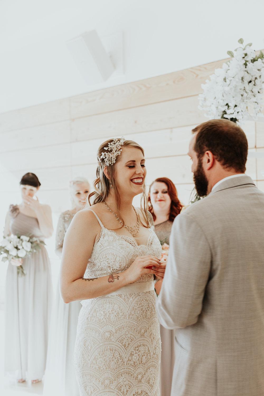 Sarah + Rusty // Crying bridesmaids and ceremony laughs // Jamie Carle // Dawn Charles Presets