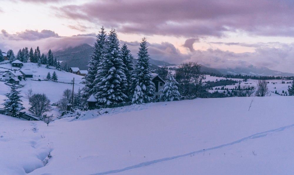 Winter Sunset in Transylvania, Romania