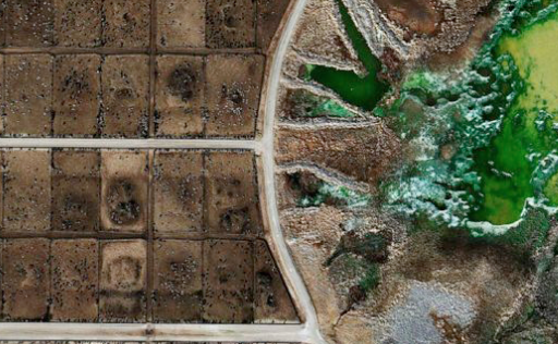 This aerial photo shows a portion of a feedlot, with cattle pans to the left and a manure lagoon to the right. Roadways are in gray.  Not a blade of grass in sight.