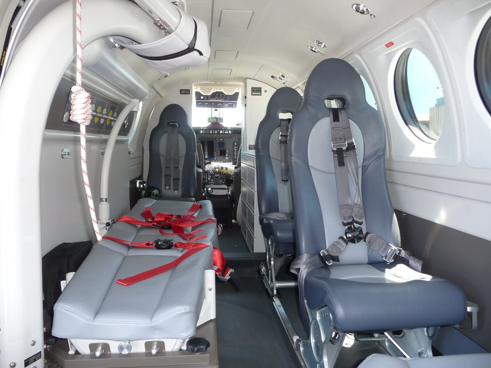 Standard Stretcher and Aeromedical Seats in a B200C King Air