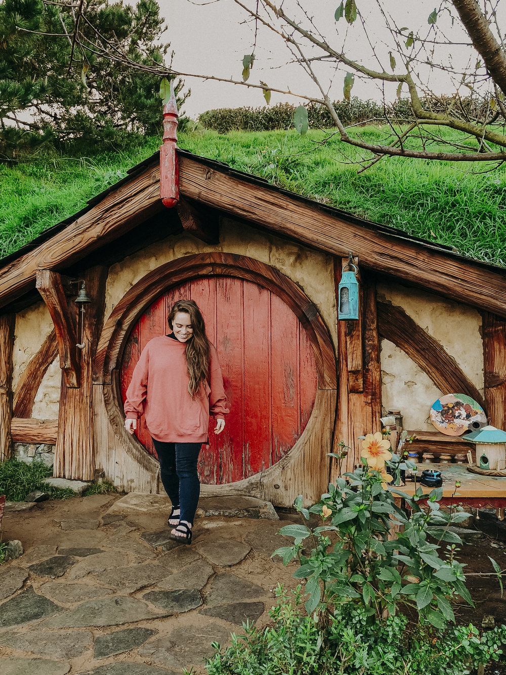 This Hobbit Home is the only one that visitors are allowed inside. Each home is recognized by the NZ Government as an actual house, but the insides are still just dirt and wood framing.