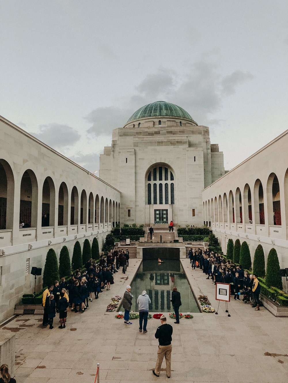 The Australian War Memorial during their  Last Post Ceremony , which takes place every day at 4:55pm.
