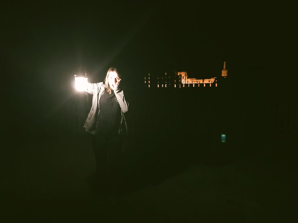 """My niece, the """"rear lantern bearer"""" and perhaps a ghost friend on the right?"""