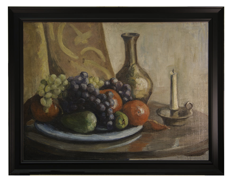 This 1931 still life painting by Antonia Greene was the only non-portrait found in the search for her lost works. The rest, including several unfinished paintings, were all portraits. This platform for grapes and pomegranates is based on several circular curves. Note table top, blue plate. candleholder, vase, and graphics on background fabric. These curves  serve as thematic staging to the round, curved shapes of the fruit. The thinking preceding the actual painting and cartooning shows sophisticated preparation. Making the finished painting not just lovely to look at, but an artistic expression of strong  identity. The more you look at this, the more terrifying the artist's conceptual preparation becomes. First glance, simple fruit plate. After that, 30-40 years of painting produced artistic geometry.
