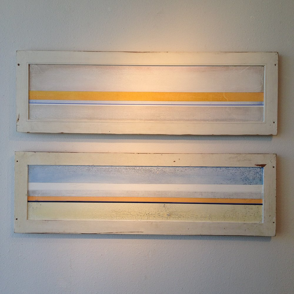 """RESTRAINT I"", ""RESTRAINT II"", 2014, on reclaimed wood doors. IN COLLECTIONS"