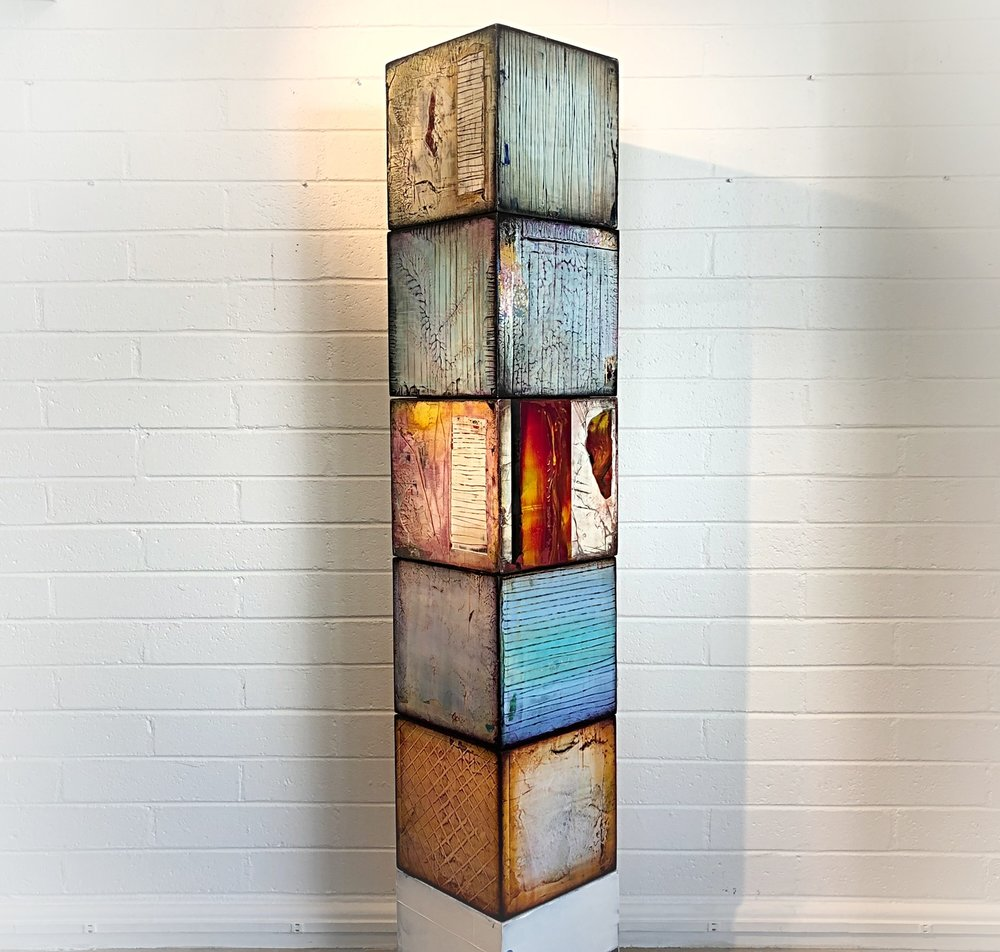 "ART CUBE SCULPTURE: Created to order on commission. 12"" sq cube may be sold separately."