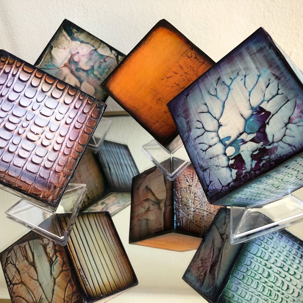 "MINI ART CUBES: Sizes 6"" and 3.5"". if not in stock may order commission, color to specification desired."