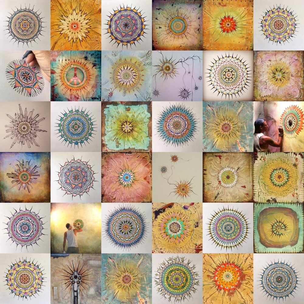 misc mandalas on both paper and canvas