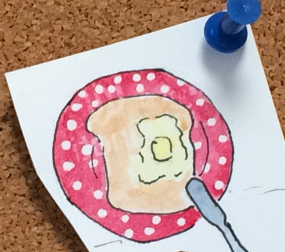 Buttered toast is the best. (Fun little watercolor painted on back of a biz card.)