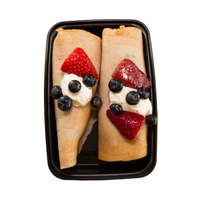 High Protein Breakfast CrepesLow-fat buckwheat crepes packed with whey protein, stuffed with strawberries and blueberries, and served with a side of cream cheese topping.$6.99 GF / V  - 310 Calories | 24 g Protein | 44 g Carbs | 6 g Fat