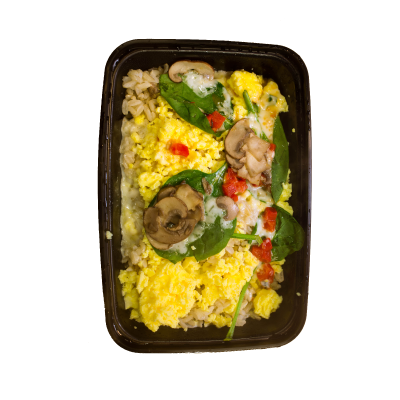 Spinach & Red Pepper ScrambleBrown jasmine rice, scrambled eggs, topped with spinach, roasted red peppers, sautéed mushrooms, and mozzarella cheese.$5.29 M, $6.29 L  - M 324 Calories | 21 g Protein | 28 g Carbs | 14 g FatL 468 Calories | 30 g Protein | 39 g Carbs | 20 g Fat