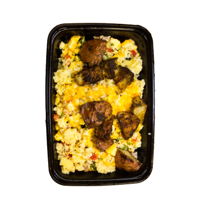 Western ScrambleDiced peppers, ham, onions, and tomatoes all scrambled up with herb roasted potatoes and topped with cheddar cheese.$5.49 M, $6.99 L  - M 249 Calories | 18 g Protein | 18 g Carbs | 17 g FatL 330 Calories | 26 g Protein | 18 g Carbs | 17 g Fat
