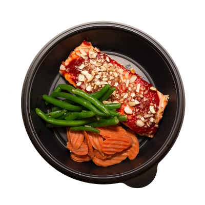 Almond Crusted Fit SalmonSweet and spicy glazed salmon crusted in almonds, served with steamed green beans, and honey roasted carrots.$9.99 M, $12.99 L GF / DF / CC - M 290 Calories | 24 g Protein | 9 g Carbs | 17 g FatL 418 Calories | 34 g Protein | 11 g Carbs | 25 g Fat