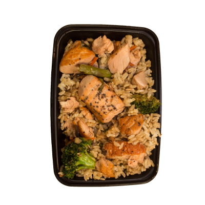Salmon Stir FrySalmon with a stir fry of asparagus, broccoli, and onion over steamed jasmine rice.$11.99 DF - 347 Calories | 35 g Protein | 36 g Carbs | 8 g Fat