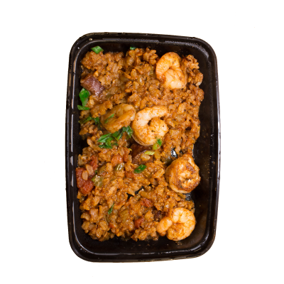Shrimp & Sausage JambalayaSausage jambalaya made with brown jasmine rice and topped with blackened shrimp.$7.99 GF / DF - 260 Calories | 20 g Protein | 30 g Carbs | 6 g Fat