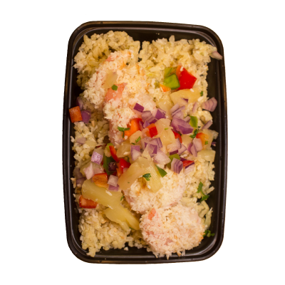 Baked Coconut ShrimpCoconut crusted shrimp mixed with pineapple and jalapeño rice.$11.99 - M 362 Calories | 30 g Protein | 26 g Carbs | 13 g FatL 531 Calories | 43 g Protein | 45 g Carbs | 20 g Fat