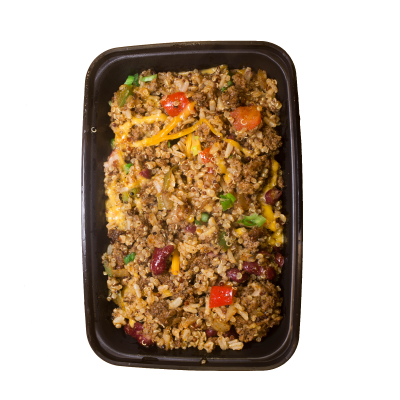 Southwest Bison QuinoaSouthwest bison blended with quinoa, brown jasmine rice, and kidney beans. Topped off with cheddar cheese and green onions.$8.99 GF - 482 Calories | 35 g Protein | 53 g Carbs | 14 g Fat